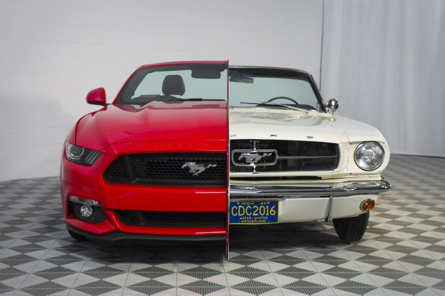 Side-by-side Ford Mustangs at the National Inventors Hall of Fame Museum